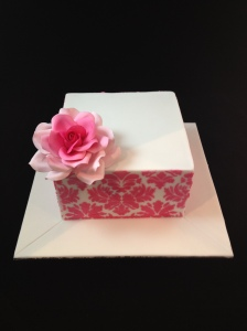 Square Cake with Pink Damask Stencilling and Pink Rose