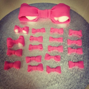 Pink Fondant Bows made in advanced