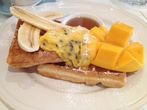 Waffles with Mango, Banana, Passionfruit and Lime Curd