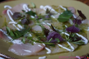 Dish 1: Kingfish Sashimi with Lime, Chilli, Coconut & Thai Basil