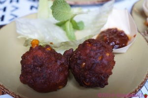 Dish 2: Spicy Corn and Coriander Fritters with Iceberg Lettuce and Chilli Jam