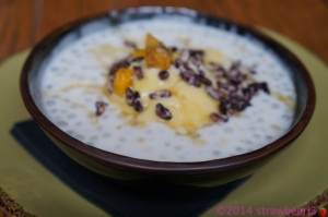 Coconut Sago with Sweetcorn Ice Cream, Praline and Puffed Wild Rice