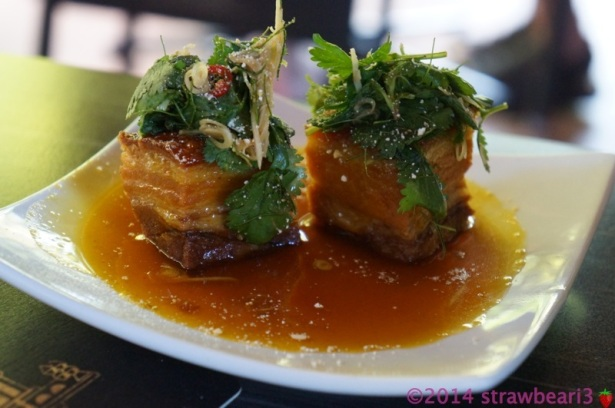Crispy Pork Belly with Citrus Caramel Sauce